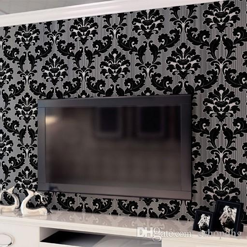 Classic Wall Paper Home Decor Background Damask Wallpaper Black Floral Wallcovering 3d Velvet Living Room WP007 Natural Wallpap