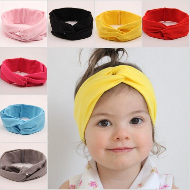 11 Färg Barn Hårband Ny Underbar Baby Girl Elastic Force Bomull Barn Barn Bowknot Elastic Tillbehör Hårtillbehör / Fabrik direkt