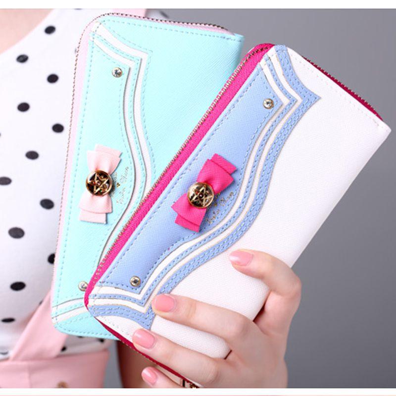 Kawaii Sailor Moon Leather Case for iphone 5s 6 6s plus 6plus Long Wallet  Zipper Female a42988cf1