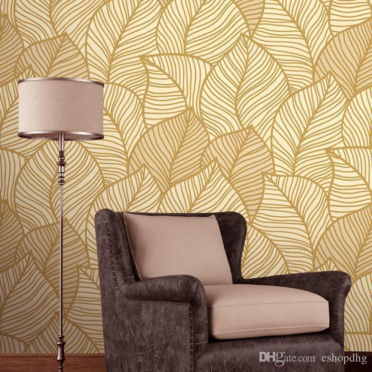 Romantic Pastoral Atmosphere Leaves Deep Embossed Wallpaper Bedroom ...