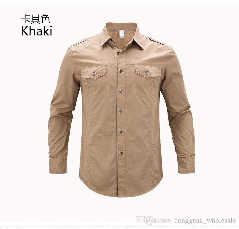 new Men Autumn casual army style shirt cotton with epaulet and 2 pockets blue khaki green shirts camisas masculina 4XL 5XL 2018