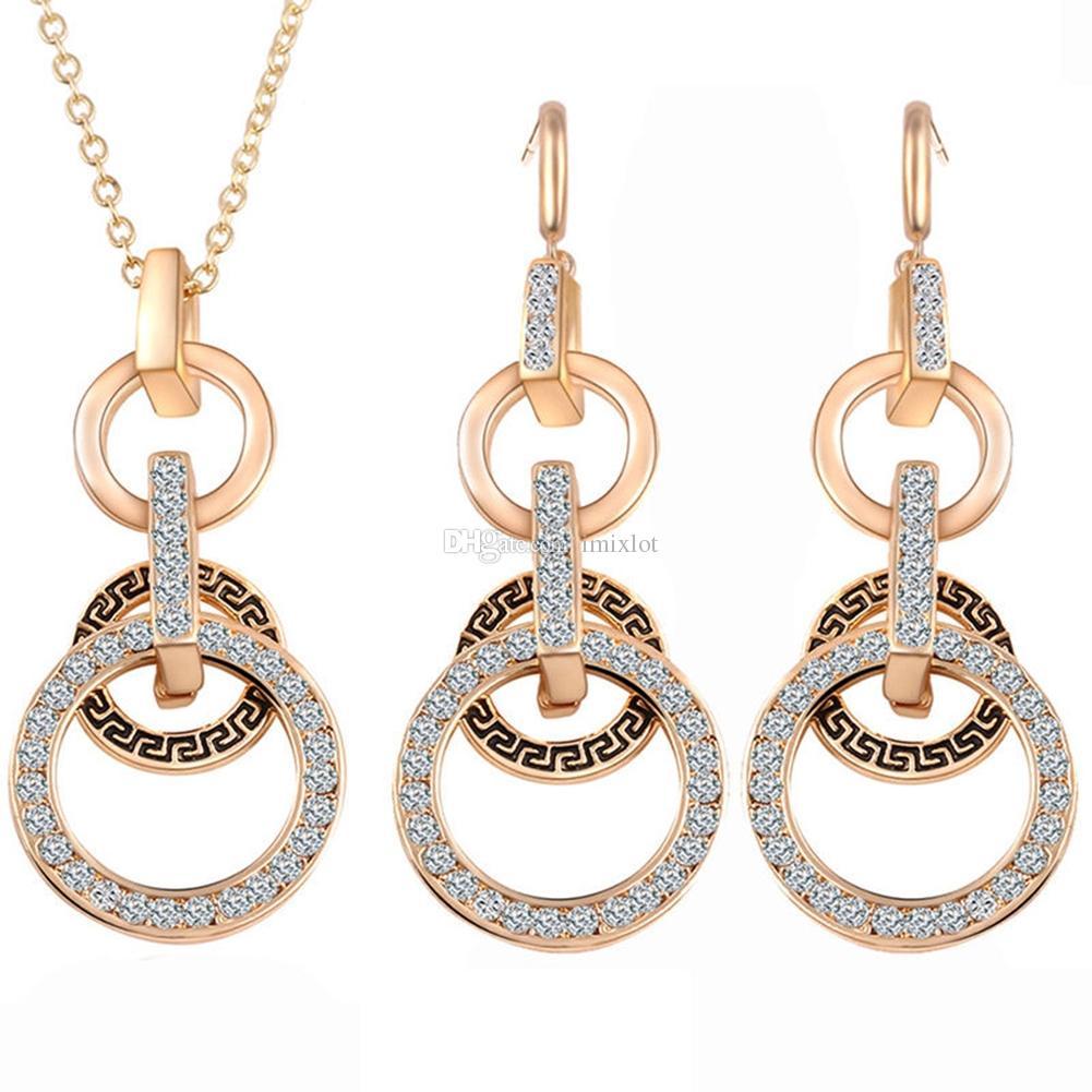 Nouvelle marque de femmes pendentif en cristal plaqué or chaîne collier goujon bijoux Set [GE06606]