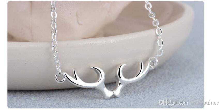 S925 Silber Halskette, Valentinstag Geschenk, natürliche Perle, Hirsch Anhänger, Geburtstagsgeschenk, Ladies 'Explosion, Anhänger Schmuck Weihnachtsgeschenk