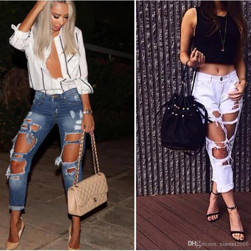 2017 High Quality 2017 Boyfriend Hole Ripped Jeans Women Pants ...