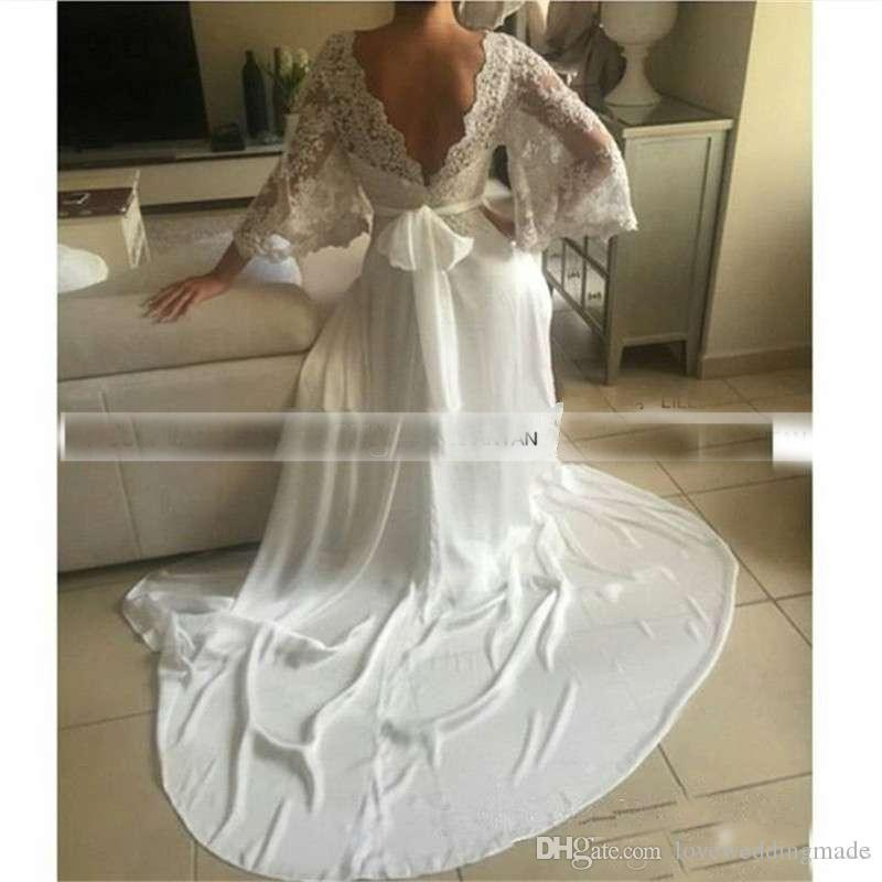 Sexy Deep V Neck Long Sleeves Illusion Wedding Dresses 2017 Lace Backless Chiffon Bridal Gowns With Bow Sash Cheap
