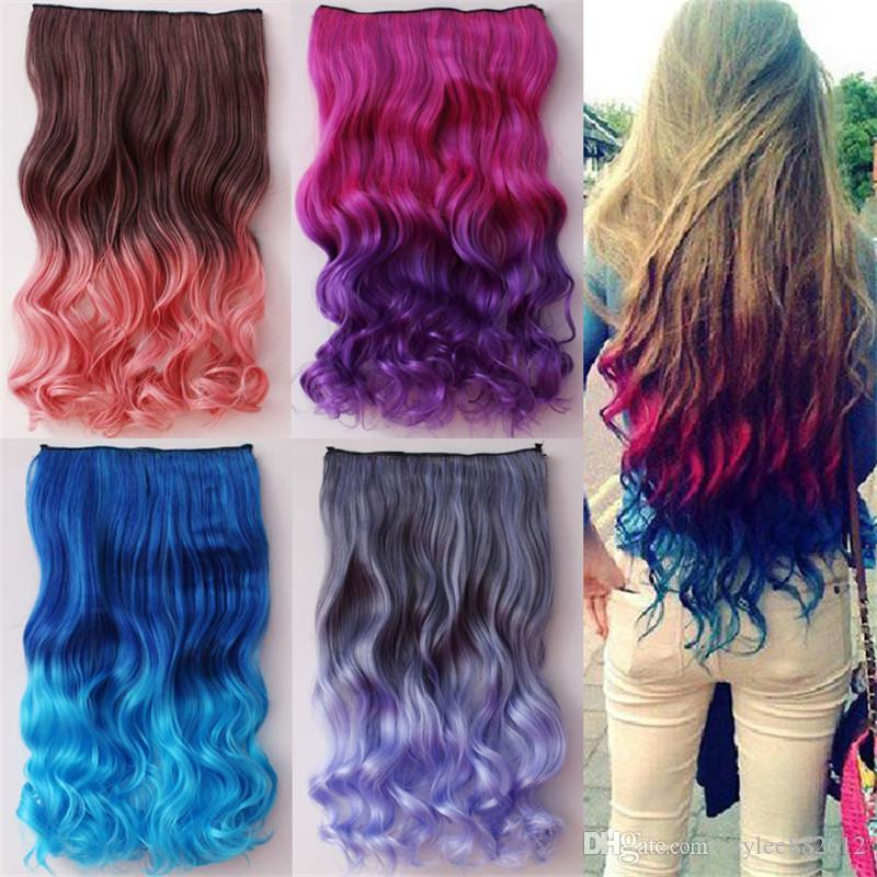 Best sales colorful colored hair products clip on in hair best sales colorful colored hair products clip on in hair extensions human ombre color synthetic hair gradient curly hairpiece periwig extensions for white pmusecretfo Choice Image