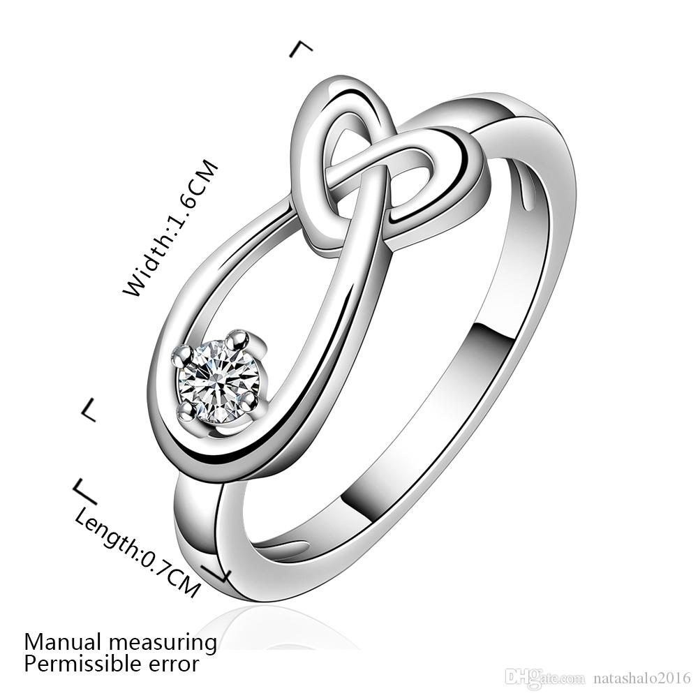 925 Sterling Silver Ring Cross Heart Shape Women Wedding Rings with Box Zircon Stone Jewelry For Girls Party Wholesale Jewelries RG-068