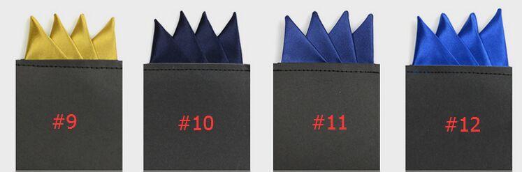 Cantos afiados Bolso quadrado 24 cores sólida Bolso bolso Terno dos homens Bolso Lenço Para Cocktail Party Festa de Casamento de Natal Livre FedEx TNT