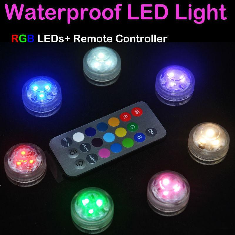 12pcs/Lot Wedding Decoration 3 RGB LED Remote Control Mini Waterproof Submersible Led Party Lights With Battery For Halloween Xmas Party