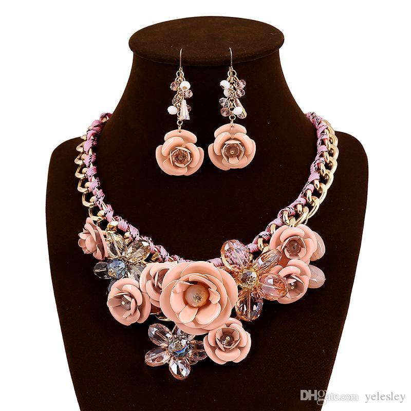 Conjuntos de Jóias de moda Mulheres Flor Branca K Colar Brincos Conjuntos de Jóias Set Rose Placa De Ouro De Cristal Esmalte Brinco / Colar / Anel Flor
