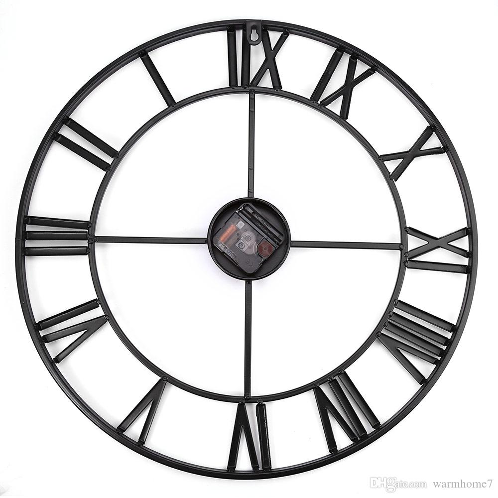 3d Iron Retro Decorative Wall Clock Big Art Gear Roman Numerals Wall