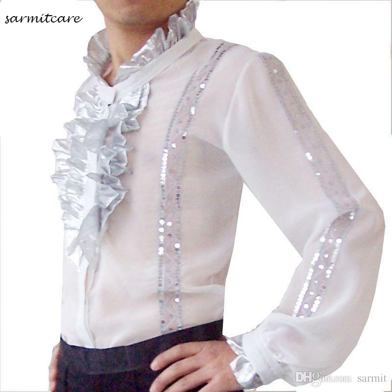 2018 white male ruffled neck long sleeve latin dance shirt for Frilly shirts for men