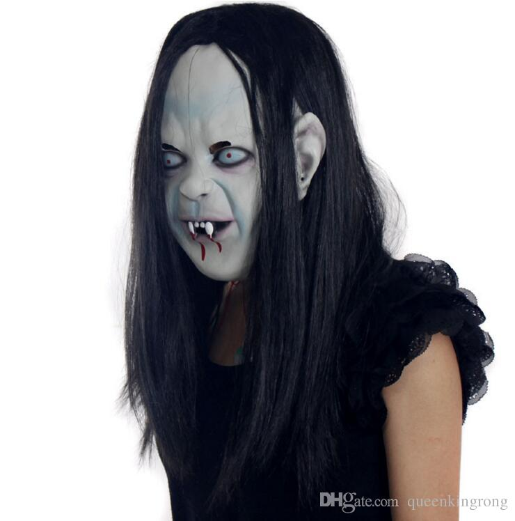 nouveauté Props casquettes en caoutchouc Halloween sorcière fantôme vendetta Sadako pull d'horreur masques effrayant Zombie partie mariée Masques