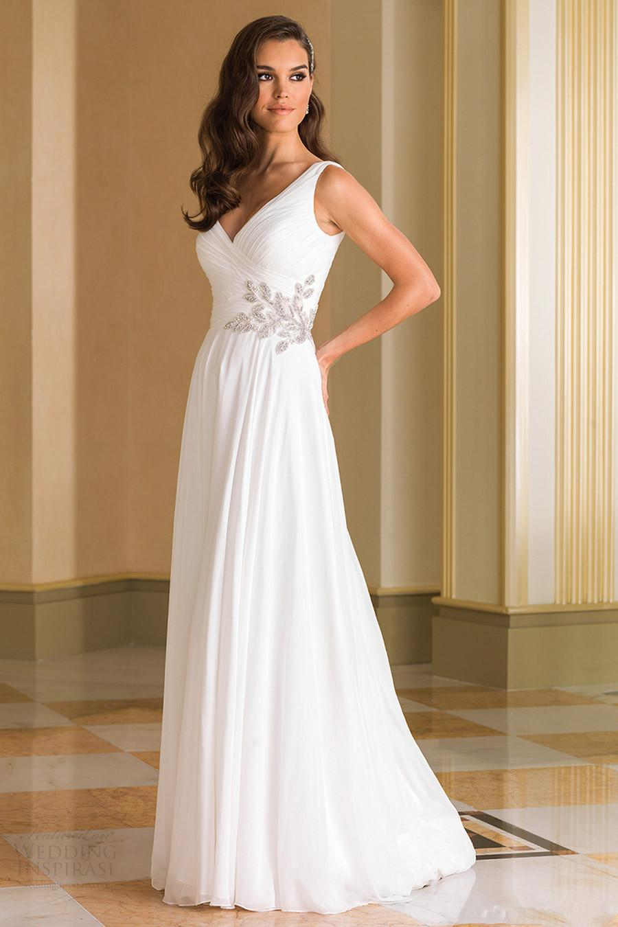 Discount Grecian Backless Beach Wedding Dresses V Neck Flowing ...