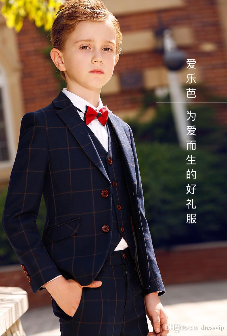 Four Piece Kids Wedding Suits New Arrival Peaked Lapel Custom Made Boys Formal Wear Jacket + Pants +Pocket Square +Bow Tie Gowns For Boys
