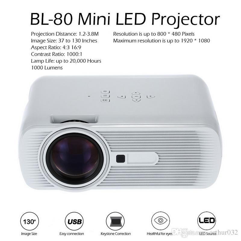 BL-80 Mini Portable LED Projector 1000 Lumens TFT LCD Full HD AV USB SD VGA HDMI For Video Games TV Home Theater Proyector Beamer Free DHL
