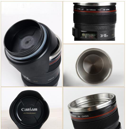 400ML CPAM Lens Mug Stainless Steel Coffee Cups 4 Generation Liner Travel Thermal Coffee Camera Lens Mug Cup Black