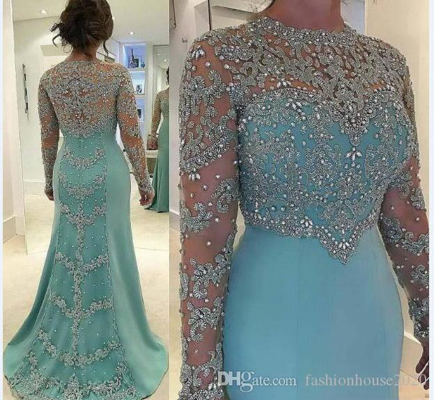 Mint Green 2018 New Mother Of The Bride Dresses Silver Lace Appliques Beaded Long Sleeves Illusion Plus Size Party Dress Wedding Guest Gowns