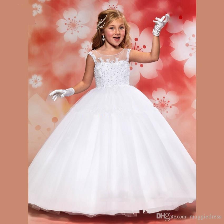 Venta Caliente barato Blanco Vestidos de Niña Para Las Bodas 2016 precioso Vestido de Encaje Balón vestido de Comunión Vestidos De Comunion