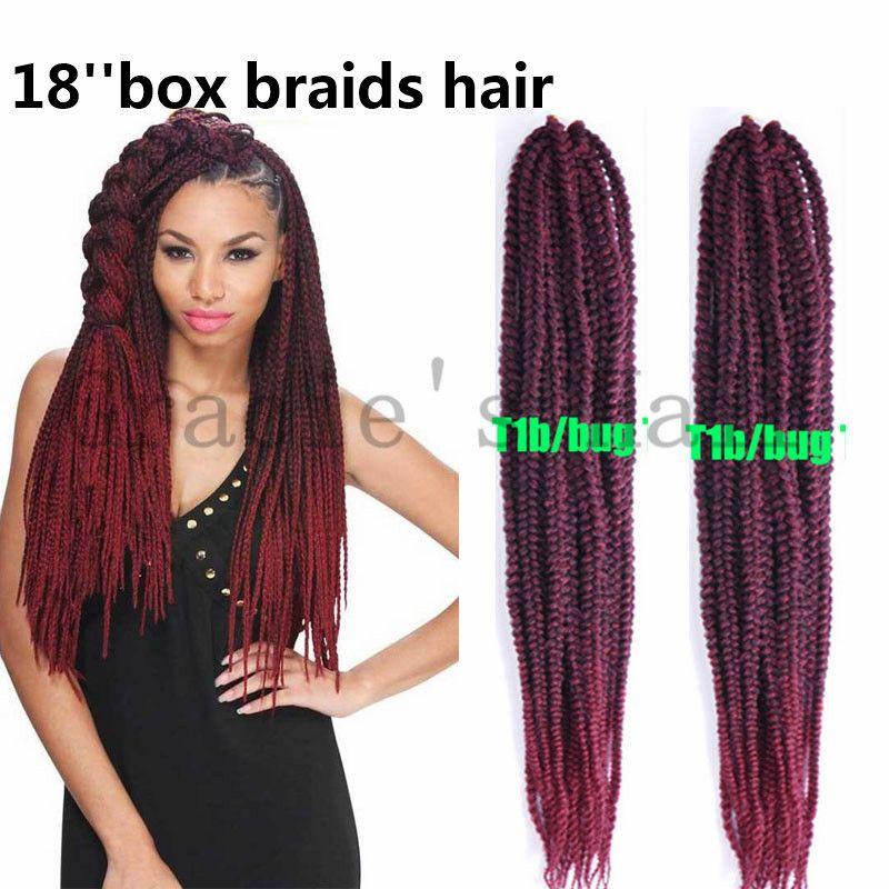 18inch Crochet Box Braid Hair Pre Braided Synthetic Hair Extensions