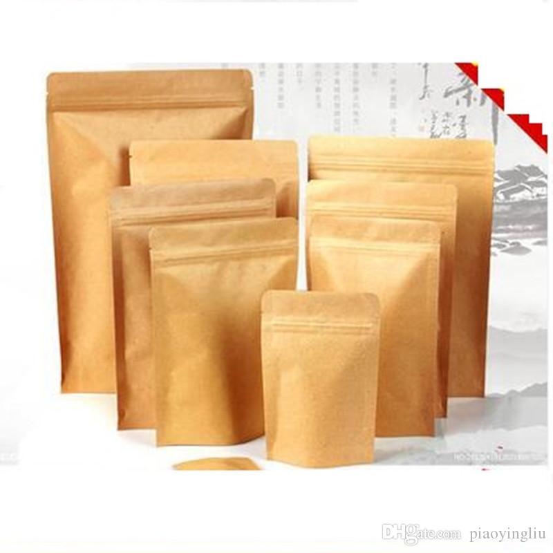 13 centímetros * 18 centímetros + 3 centímetros de papel Kraft saco de embalagem saco de válvula de pé chá bolsa de comida embalagem embalagem gratuitos grosso transporte
