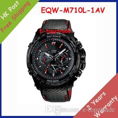 hot sell New EQW-M710L-1AV Men's Watch Sports Chronograph Black Leather White Dial EQW-M710L-1A Gents Wristwatch + Original box