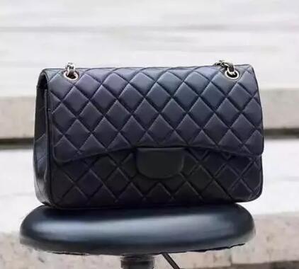 Top Quality 30cm Double Flap Bag Jumbo Black Genuine Lambskin