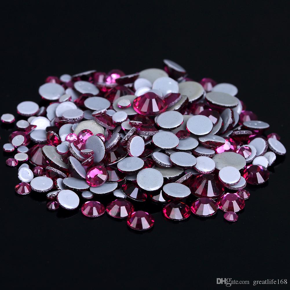 Deco Rose Fushia Salon fushia crystal hotfix rhinestones for nail ss6 ss30 and mixed glue backing  iron on glass diamonds diy backpack bags shoes design fake nails designs