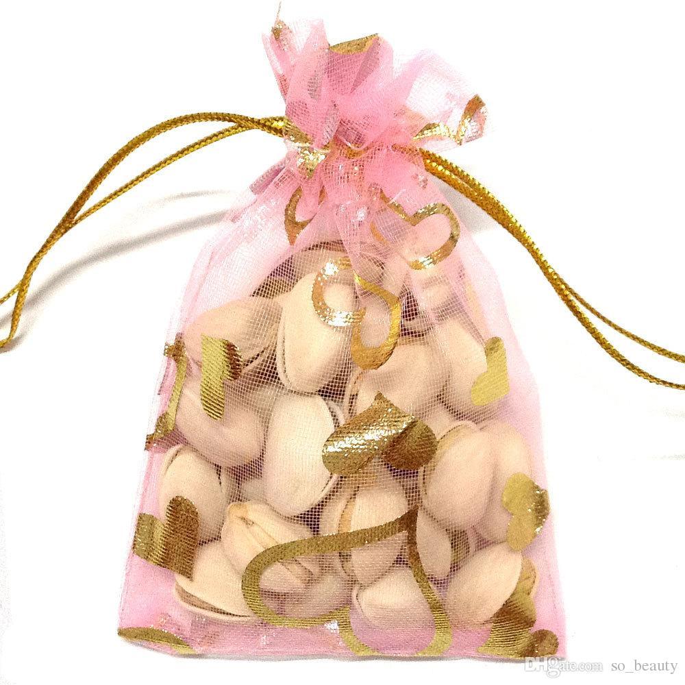 Ouro Coração Organza Sacos de Embalagem de Jóias Bolsas de Casamento Favores de Natal Saco de Presente de Festa 9x12 cm 3.6 x 4.7 polegada