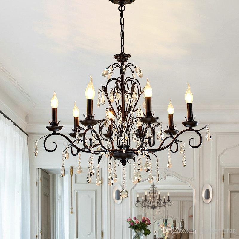 Chandelier Lighting Vintage Rustic Wrought Iron Chandelier Wedding Decoration Black Led Crystal Chandeliers 6 8 light E14 Led Lamp