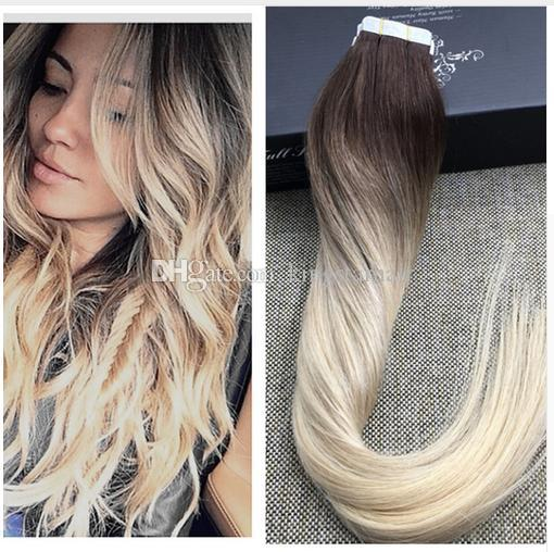 color 3 4 613 full shine blonde ombre human hair balayage skin weft seamless hair extensions. Black Bedroom Furniture Sets. Home Design Ideas