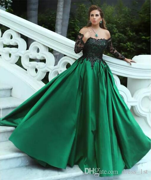 Elegant 2017 Black Off The Shoulder Lace Sequin Long Sleeve Dresses Evening Wear Satin Green Formal Gowns Custom Made EN82217