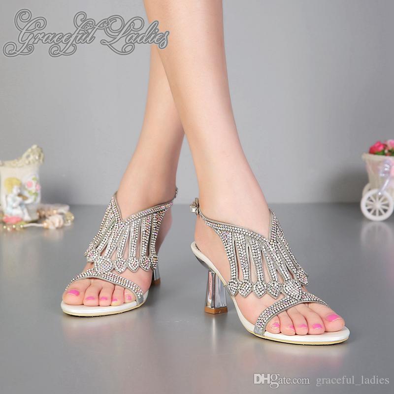 Moda Jeweled sandalias Rhinestones Tacones 8cm extrañas mujeres Sandles Real Photo Slide Calzado mujer Sandalias Diseñador gladiadores nueva llegada