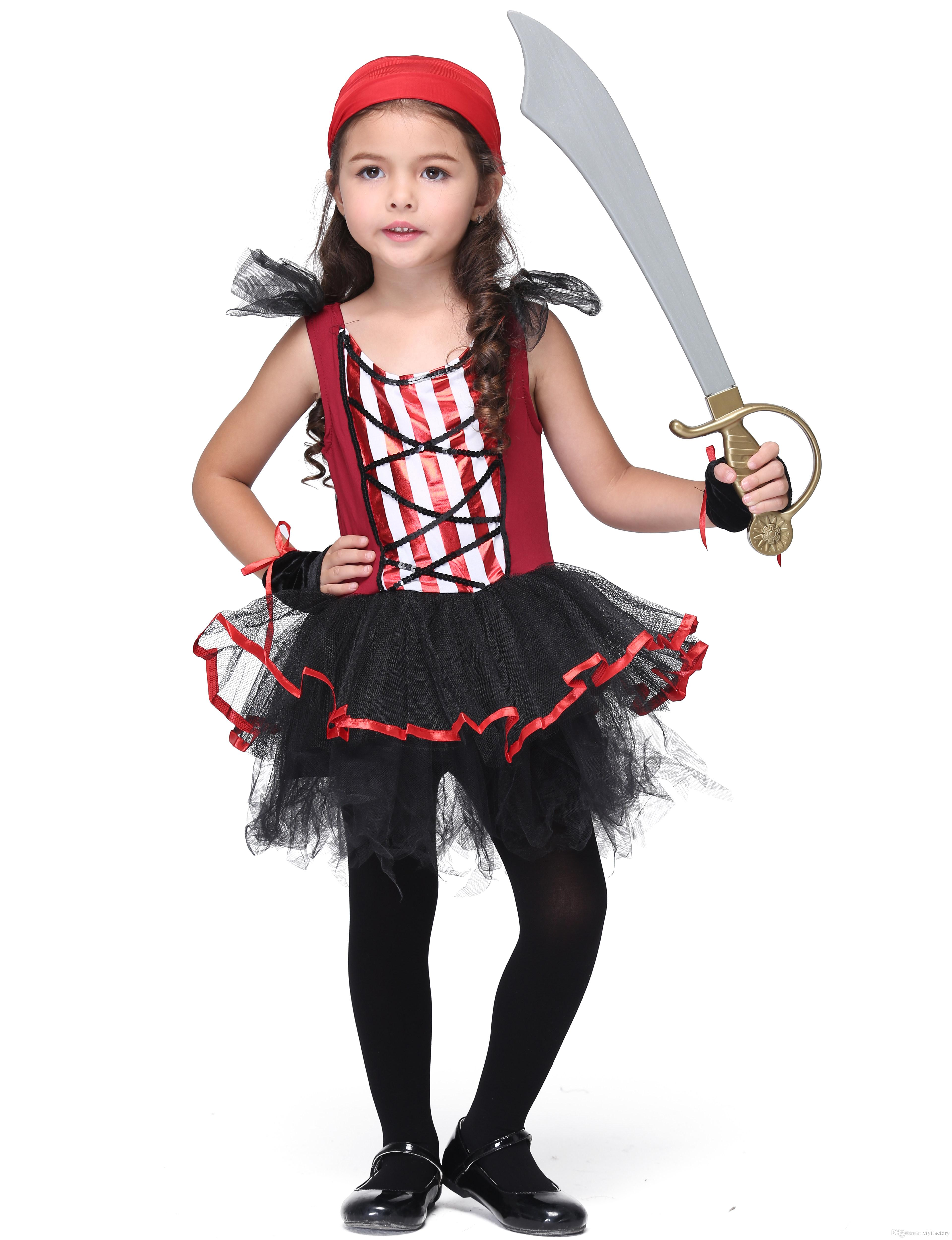 online cheap halloween kids pirate costumes girls pirate cosplay clothes children masquerade party sleeveless tutu dresses red scarf gloves kids set by - Clothes Halloween