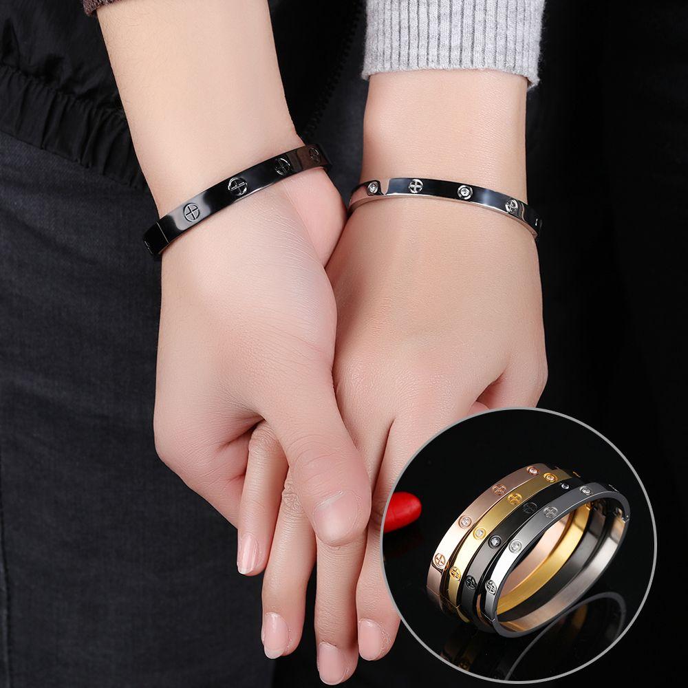 New Couples Stainless Steel Bangle Bracelet Women Men Cross Zircon ...