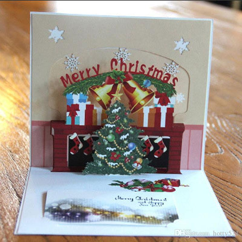 Hot Sale New 3D Handmade Christmas Tree Bell Cards Creative Kirigami ...
