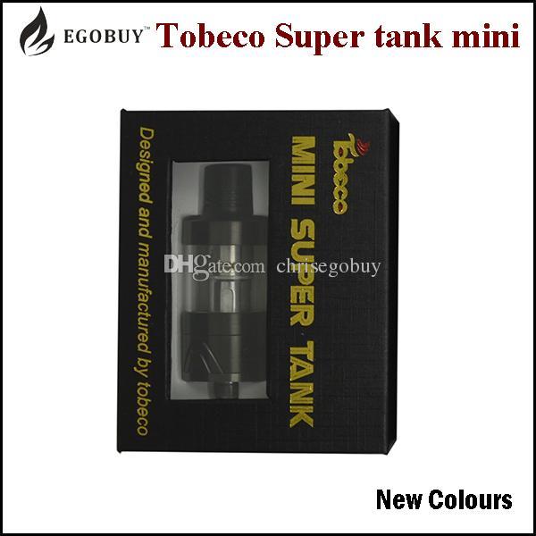 100% originales Más nuevos colores Tobeco Super Tank mini 4ml atomizador supertank reemplazo bvc bobinas 0.2 0.5 ohmios Pyrex Glass atomizadores tanques