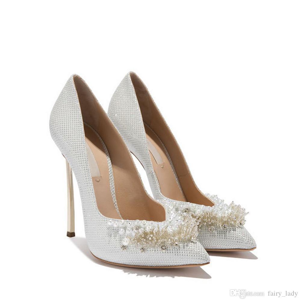 cinderella wedding shoes 2018 pointed toe 12 cm