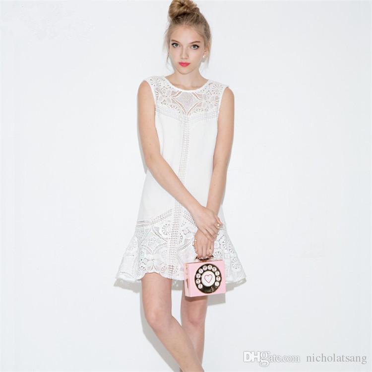 2016 nuevas mujeres del verano del gancho de la flor vestidos de patchwork elegante sin mangas blanco vestido hueco vestido más el tamaño XXL