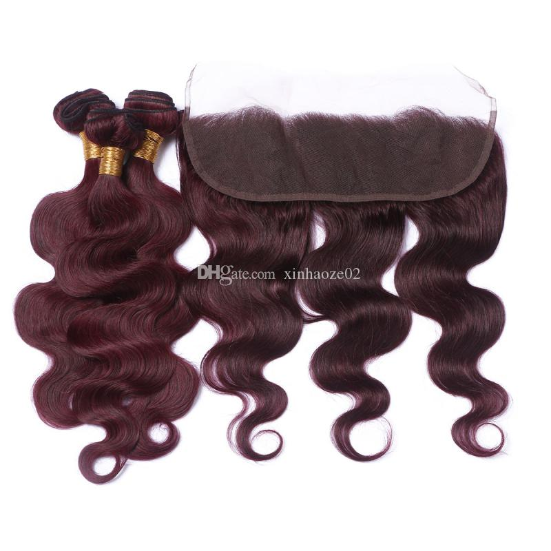 7A Peruvian Virgin Hair Bundles Body Wave With 13x4 Lace Frontal Closure Ear to Ear Burgundy/#99J Bleached Knots
