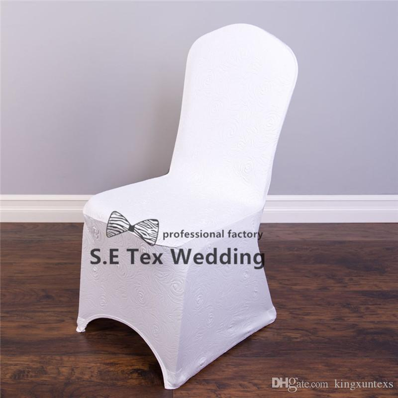 New Design 300gsm Embossed Lycra Spandex Chair Cover For Banquet Wedding Decoration