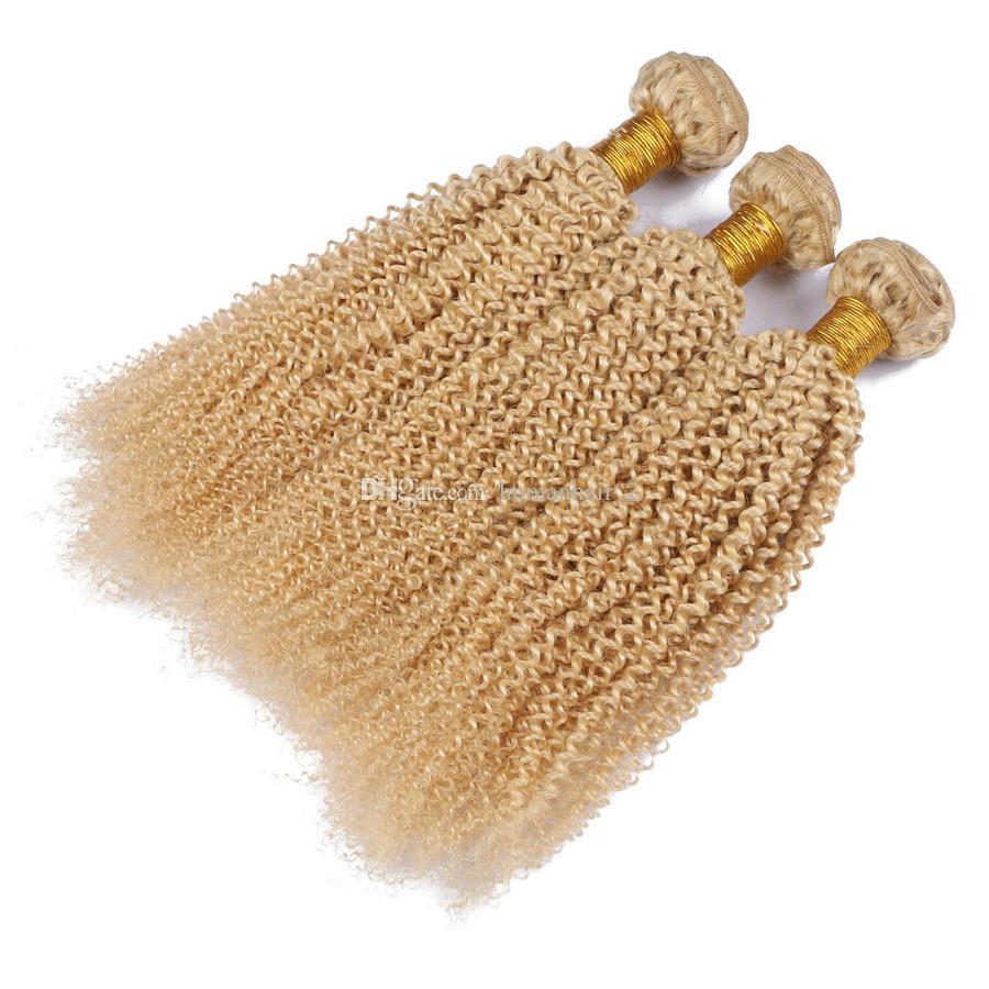 100 % 인간의 머리카락 확장 두 번 Weft 레미 Blond Weave # 613 변태 곱슬 말레이시아 버진 헤어 위브 /