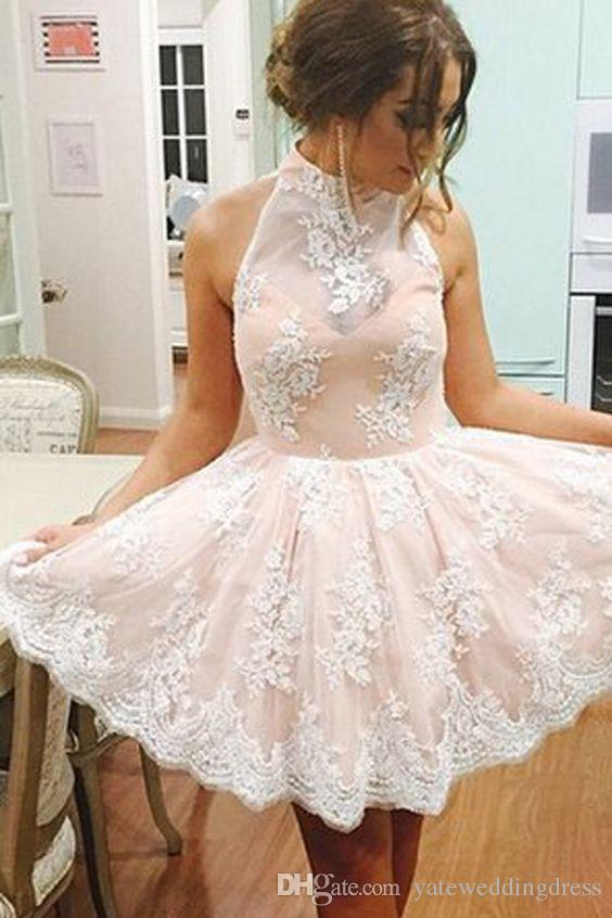 High Neck Vintage Homecoming Dresses With Lace Applique 2016 Simple Short Prom Dresses Knee-Length Custom Made Discount Price Party Dress