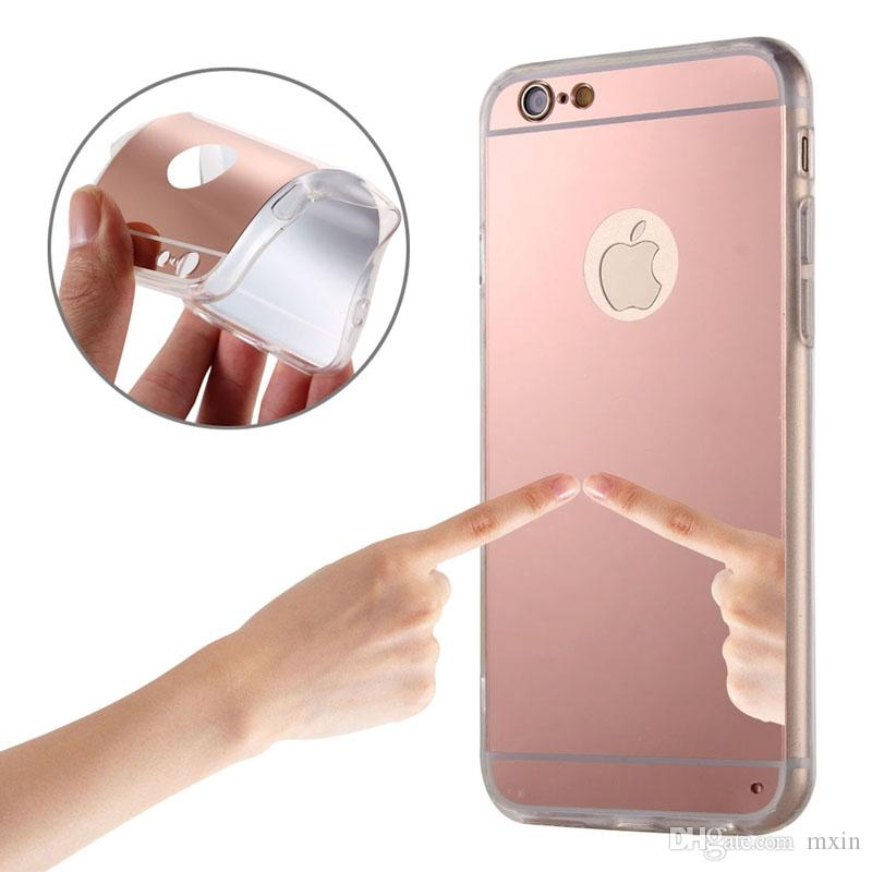 Luxury Mirror Electroplating Soft TPU Gel Case Cover For iPhone 5S 6 6S Plus Samsung Galaxy S5 S6 S7 Edge Note 5 Grand Prime G530