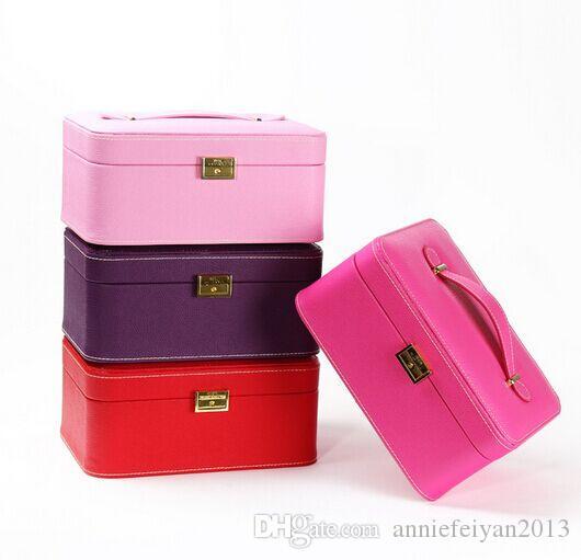 26,5 * 19 * 11,7 centimetri in pelle europea principessa doppio strato di gioielli set scatola di immagazzinaggio di articoli vari Cosmetici Jewellry scatola dell'organizzatore / caso / bidoni / armadi