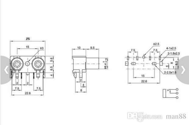 toma AV conector de audio de la toma de entrada de audio RCA 2 cincha destacan el cobre pies