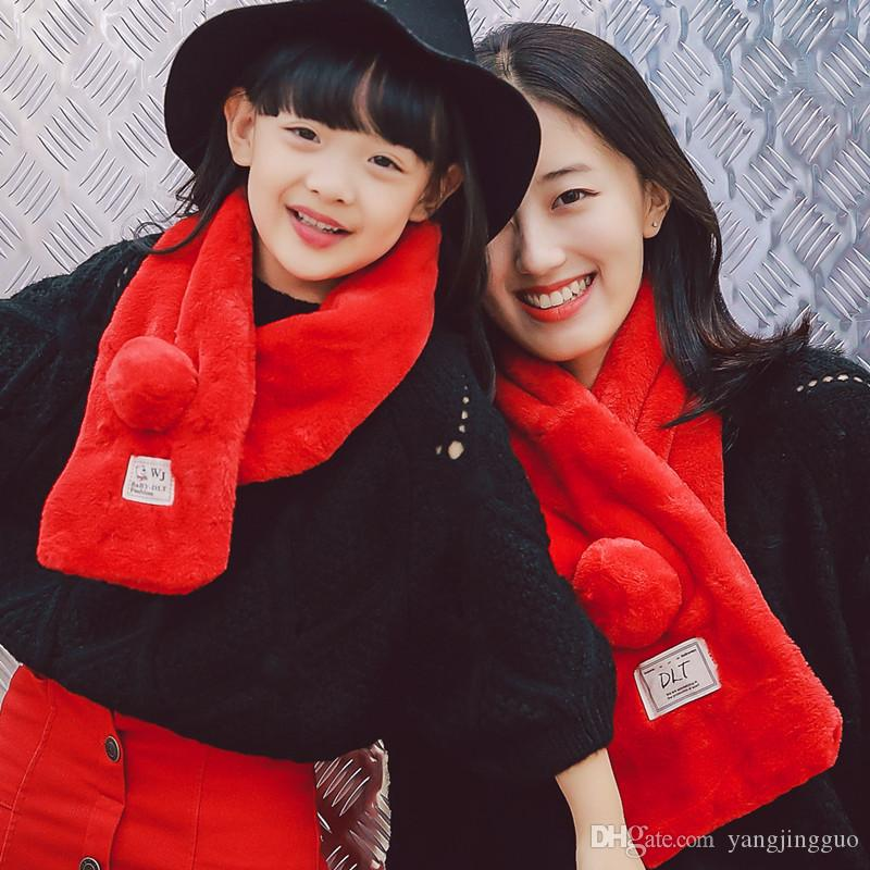 Imitation rabbit fur collar Hair bulb rabbit wool scarf shawl female pure color thickening parent-child qiu dong season warm mail
