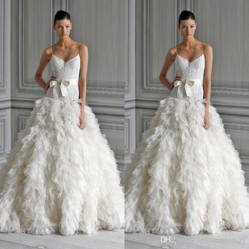 Discount Monique Lhuillier Feather Wedding Dresses Spaghetti Straps ...