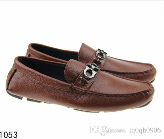 Soft Leather men leisure dress shoe part gift doug shoes Metal Buckle Slip-on Famous brand man lazy falts Loafers Zapatos Hombre 40-46