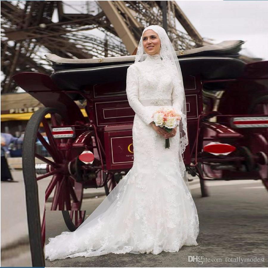 Длинные рукава Мусульманские скромные свадебные платья с длинными рукавами Высокая шея русалка Саудовская Аравия свадебные платья с бисером кружева Vestido de Noiva